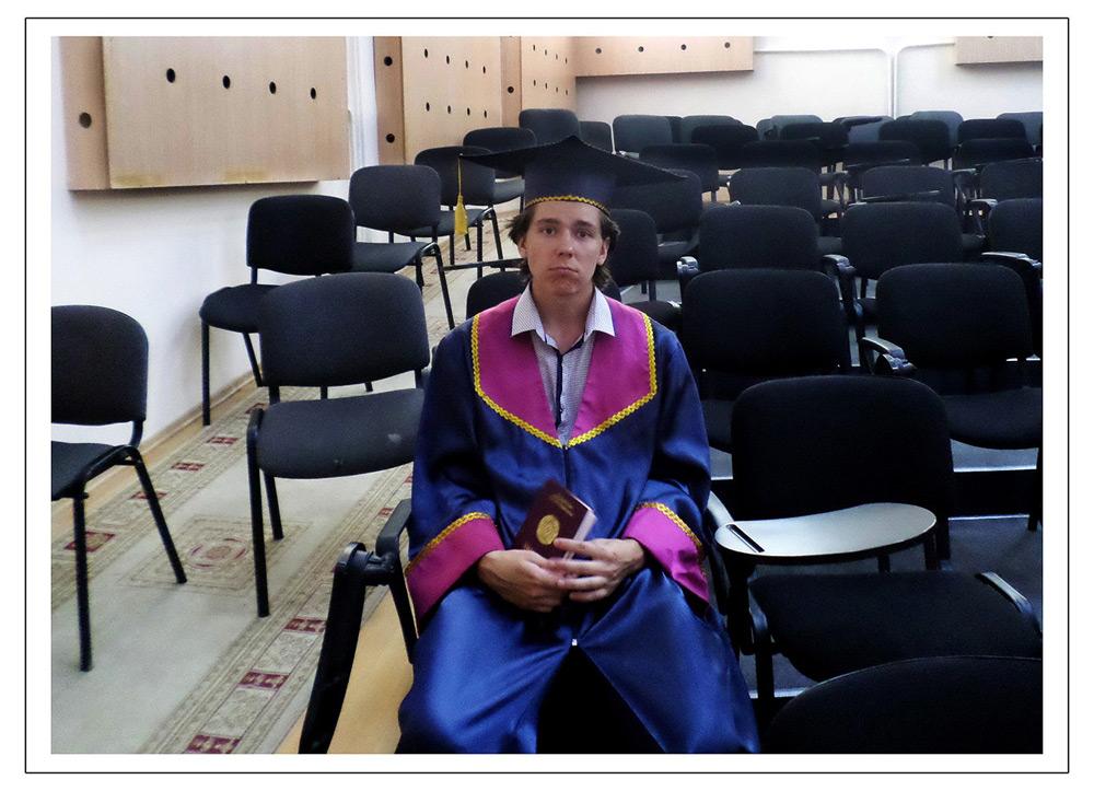 Эдвард Бедарев на вручении диплома магистра электротехинческих наук