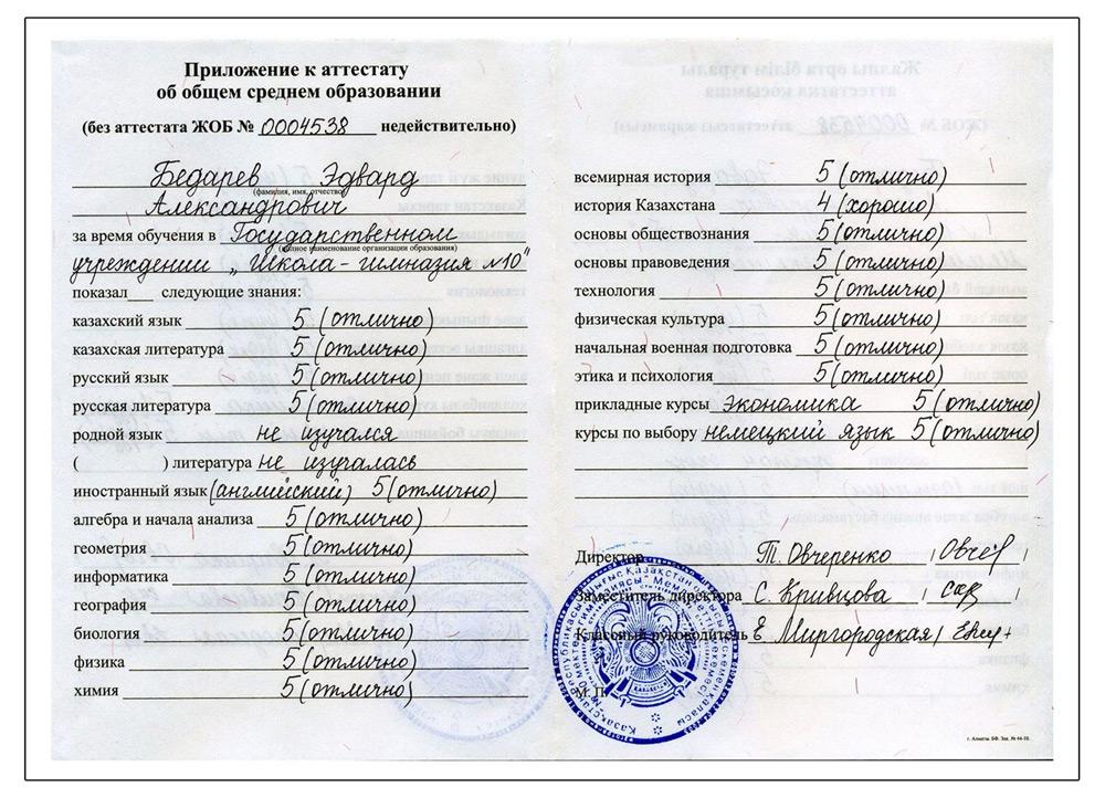 Свидетельство Эдварда Бедарева об окончании школы